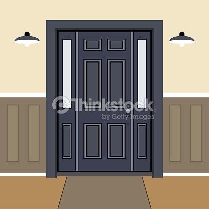 Door House Face Side Design Illustration Vector In Flat Stile