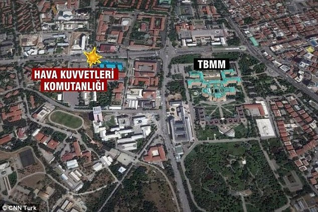 Targeted: A map of the blast site shows its proximity to Turkey's Air Force HQ (Hava Kuvvetleri Komutanligi) and to the country's parliament buildings (TBMM)