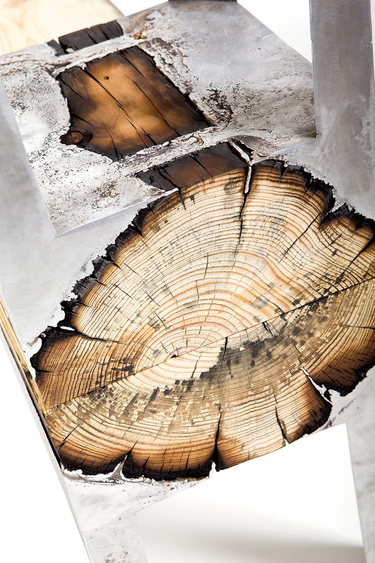 Designer Hilla Shamia Fuses Cast Aluminum and Tree Trunks to Create One of a Kind Furniture Pieces wood furniture aluminum