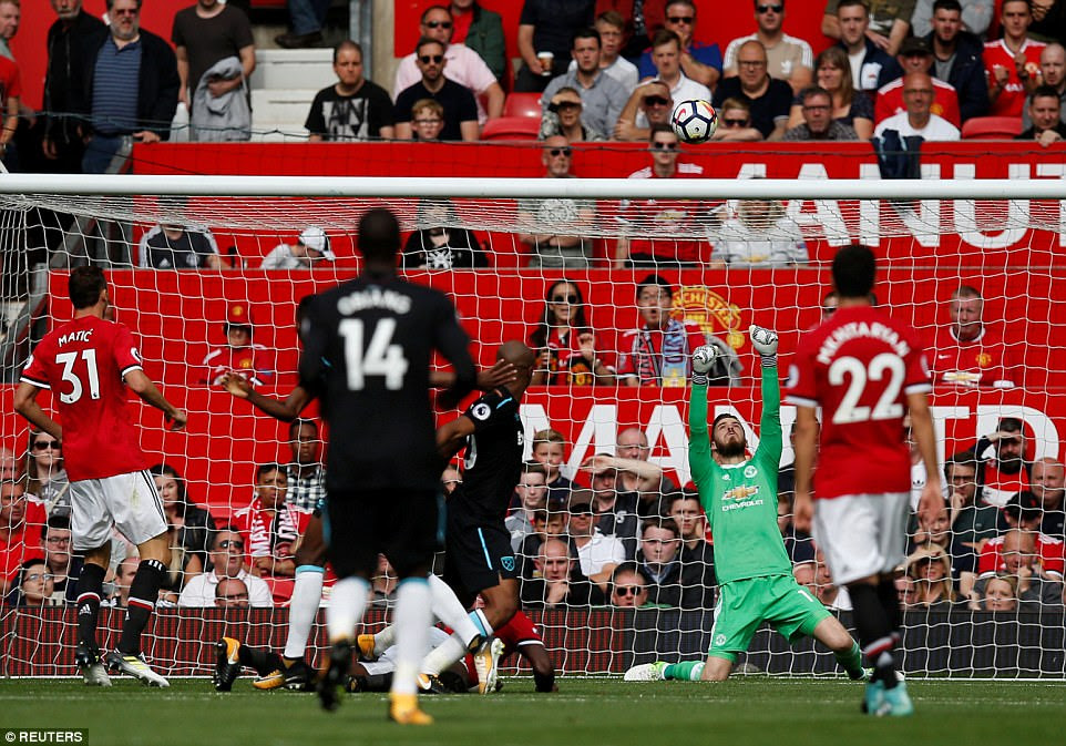 West Ham's Edimilson Fernandes forces David de Gea into a fine save with the final kick of the first half at Old Trafford