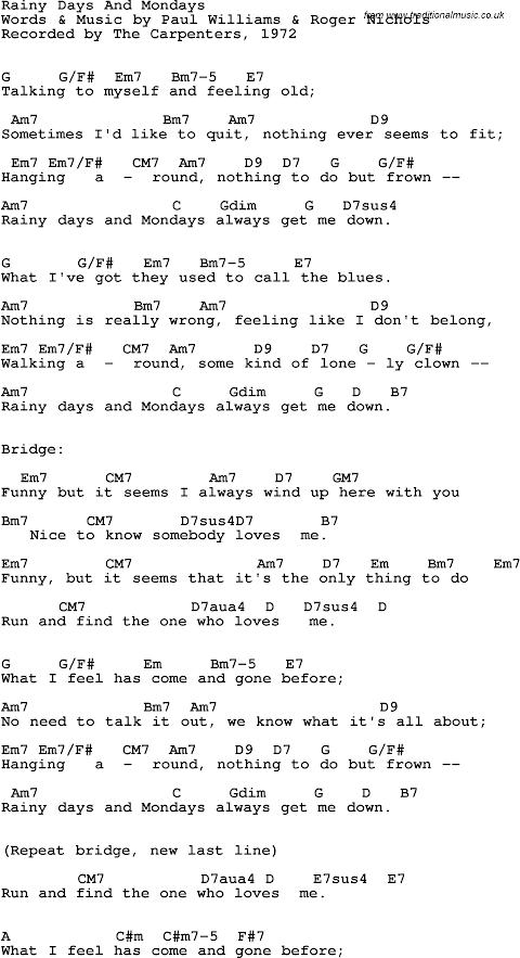 Lyrics To Rainy Days And Mondays By The Carpenters