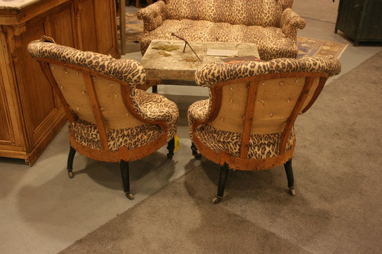 Pair of Napoleon III tufted Salon Chairs image 3