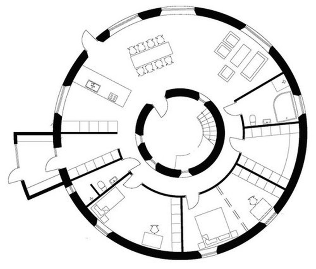 Home Design Plans For Energy Efficient Home - Round house floor plans