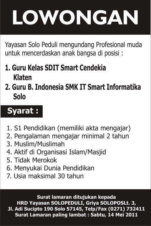 Contoh Surat Lowongan Kerja Dalam Bahasa Indonesia