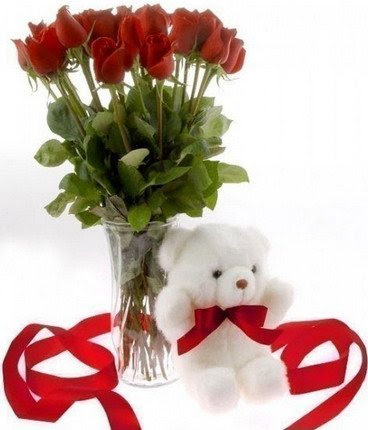 Roses In Vase With Cute Teddy Sendgiftpakistancom