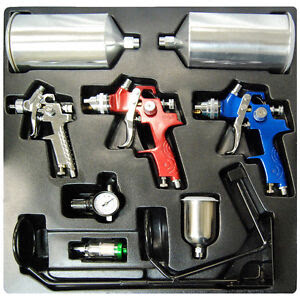 10 PC Set 3 HVLP Spray Gun Kit Auto Paint Primer Topcoat ...