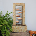 """5-Tier Copper and Slate Indoor Tabletop Water Fountain Feature - 19"""" by Sunnydaze Decor"""