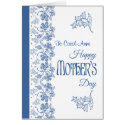Custom Blue and White Floral Mother's Day Card