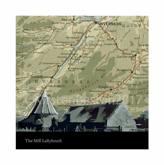 Outlander, The Mill, Lallybroch, Inverness-shire, Preston Mill, Old, Map, Silhouette, Vintage, Giclée, Print, Poster, Square, Gift