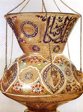 One of the mosque lamps now in the Islamic Museum