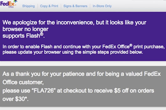 FedEx will deliver you $5.00 just to install Flash