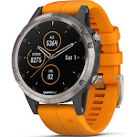 "Garmin fenix 5 Plus Sapphire Multisport GPS /Galileo Watch - 1.2"" Display - Titanium with solar flare Orange Band/Solar flare Orange"