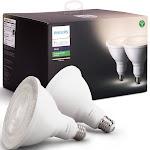 Philips Hue White - LED light bulb with reflector - shape: PAR38 - 13 W (equivalent 100 W) - warm white light - 2700 K - white (pack of 2)