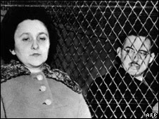 Julius and Ethel Rosenberg in the back of a prison van after their conviction