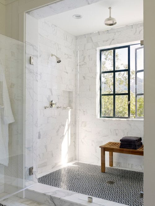 walk-in shower with windows!