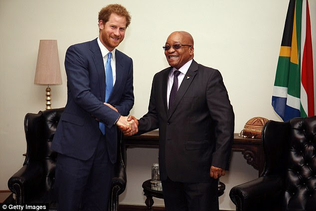 Prince Harry meets South African President Jacob Zuma at his Official Residence on the last day of his tour of South Africa on December 3, 2015