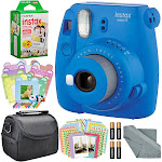 Fujifilm Instax Mini 9 Instant Film Camera - Cobalt Blue - includes Accessory Package with Frames, Stickers, Films, Case
