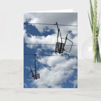 Ski Lift and Sky holiday card card