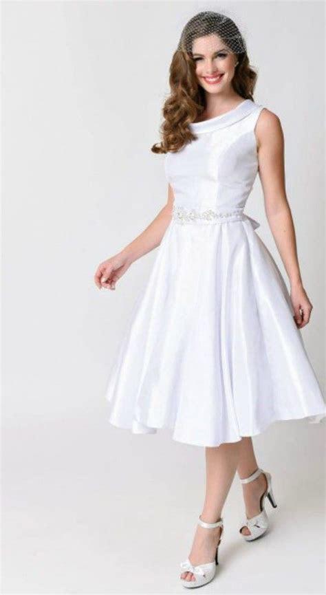 Vintage Tea length Wedding Dress for Older Brides Over 40