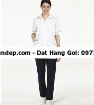 Áo buồng phòng với màu sắc nhã nhặn phù hợp với các tông màu kết hợp với thiết kế tinh tế tạo nên một chiếc áo ,buồng phòng ti