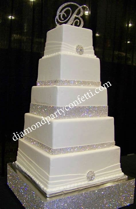 Rhinestone Bling Wedding Cake   5 tier square wedding cake