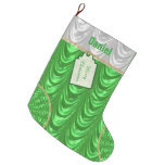 Personalize: Christmas Green Ruched Satin Look Large Christmas Stocking