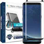 Tech Armor Samsung Galaxy S8 3D-Edge Ballistic Glass Case Screen Protector, Black