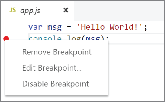 Adding a breakpoint into the code in VS Code
