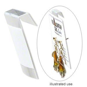Earring card, PVC plastic, transparent clear, 1x1-inch square with adhesive front. Fire Mountain Gems