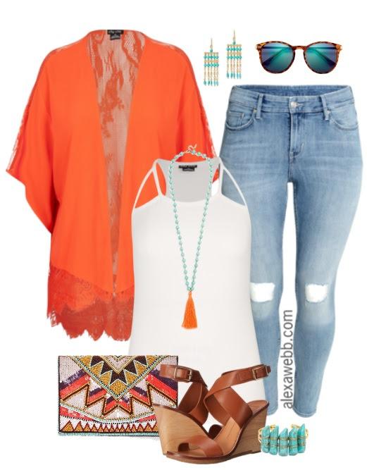 plus size orange kimono outfit  alexa webb