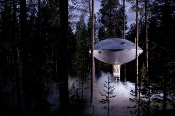 UFO Room at theTreehotel Treehotel in Sweden Adds a Room Shaped Like a UFO