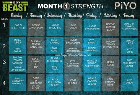 month   piyo strength  body beast build