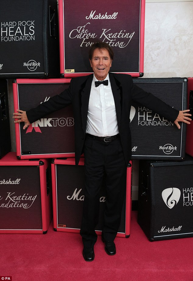 Smart: Sir Cliff Richard looked dapper in a bow tie and tuxedo at the breast cancer research event