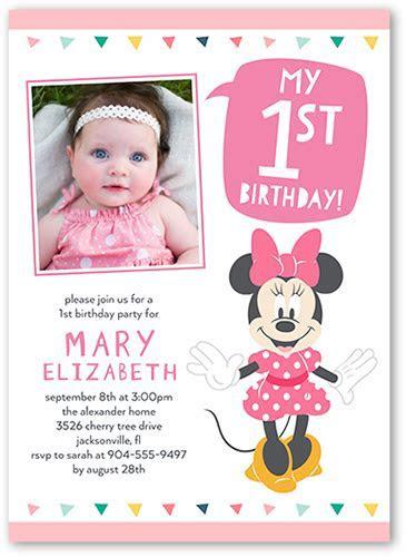 Disney Minnie Mouse Baby Girl 1st Birthday Invitation