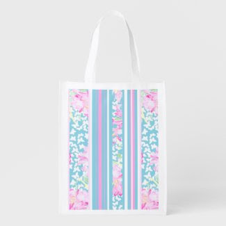 Chic Pink Roses, Turquoise Stripes: Shopping Bag Market Tote
