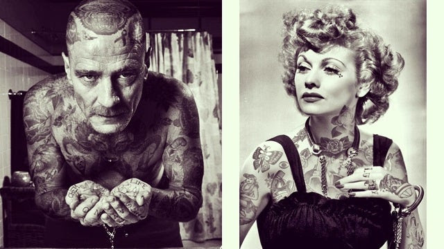 What famous celebrities would look like if they had tattoos