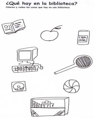 Se muestra una actividad donde el alumno debe colorear y rodear de una serie de dibujos aquellas cosas que hay en una biblioteca