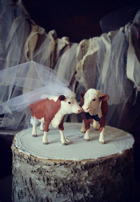Cow cowboy cowgirl farmer wedding cake topper rustic
