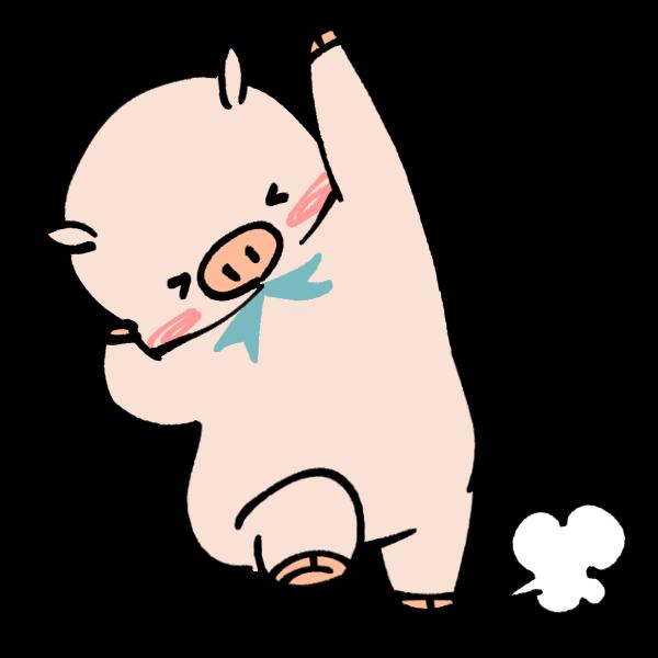 大喜びする豚のイラスト かわいいフリー素材が無料のイラストレイン