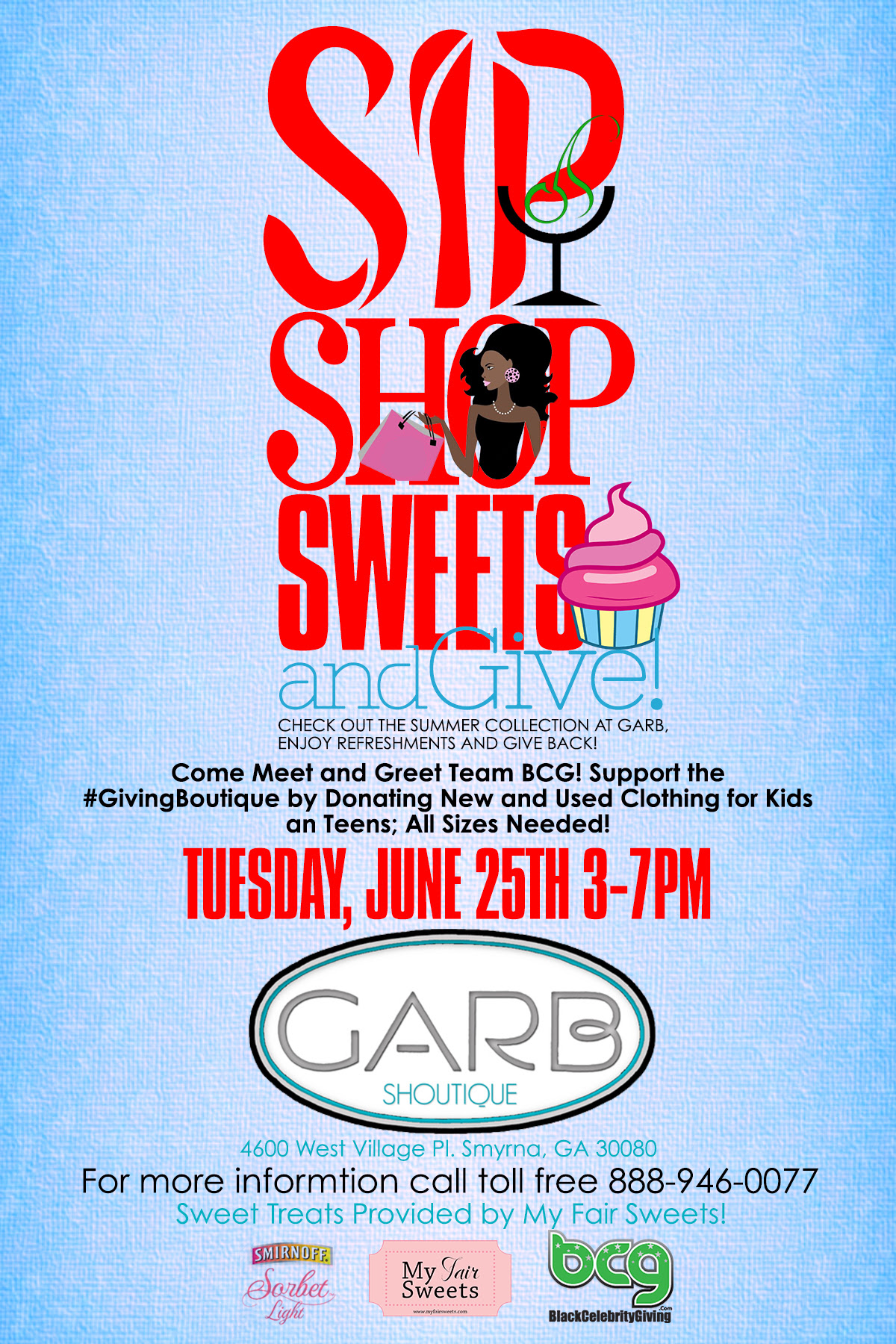sip shop sweet give flyer