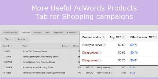 New Google adwords Products tab and Report Update