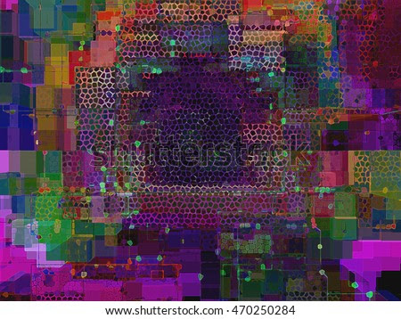 This is a dynamic abstract digital art fantasy with geometric and spatial relationships along with color changes.