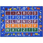 Ottomanson Jenny Light Blue Frame Educational Alphabet Non-Slip Area Rugs for Kids