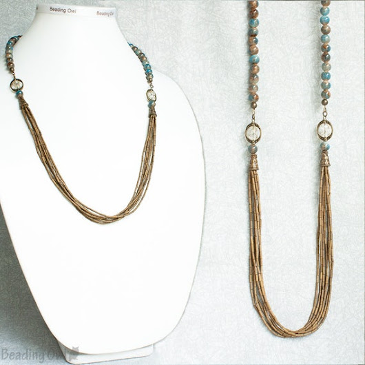 Taupe and Blue Necklace / Gift for women