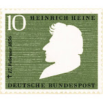 Heinrich Heine (1797-1856). /Ngerman Poet And Critic. West German 10 Pfenning Postage Stamp Of 1956 Commemorating The 100Th Anniversary Of Heine'S