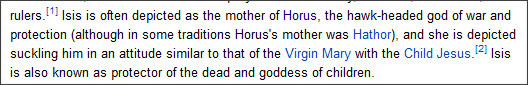 http://en.wikipedia.org/wiki/Isis#Mother_of_Horus