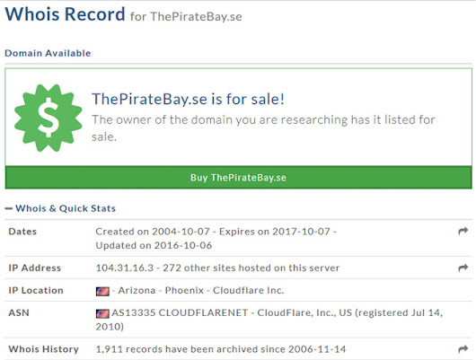 The Pirate Bay's Swedish Domain is Listed For Sale - TorrentFreak