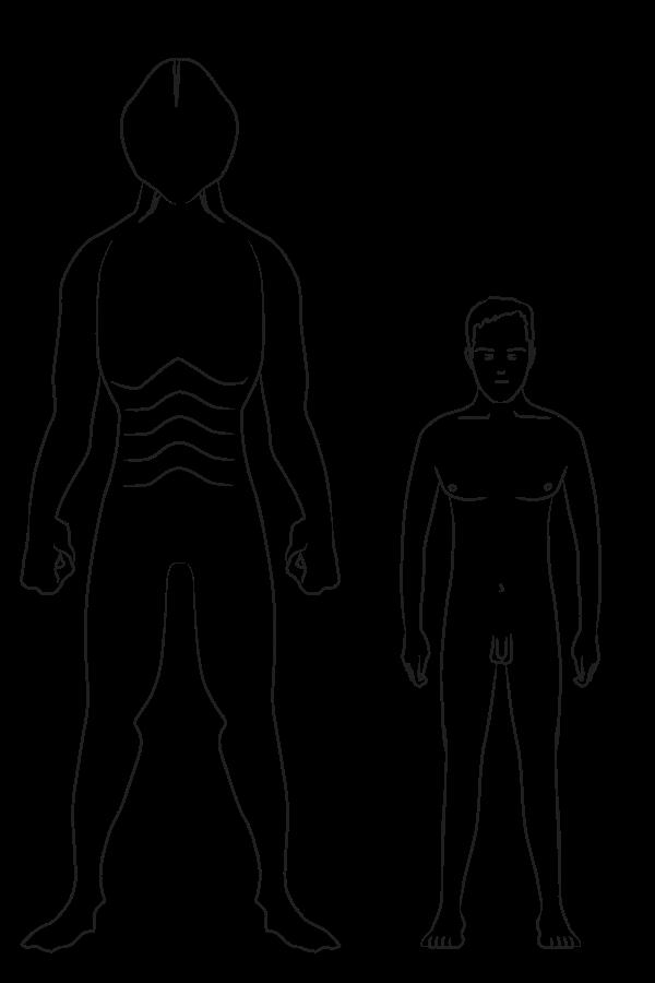 Recreación de reptil humanoide y Humano