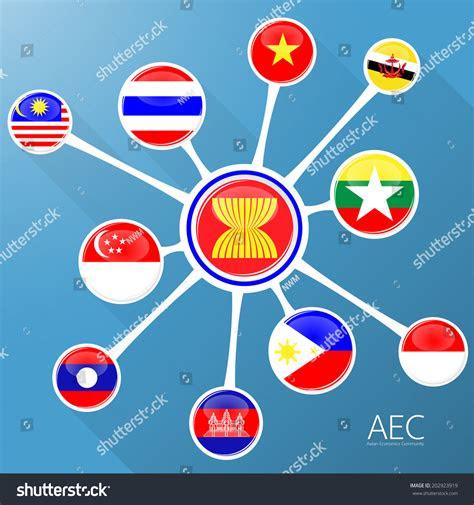 aecnetwork asean economic community flag symbols stock