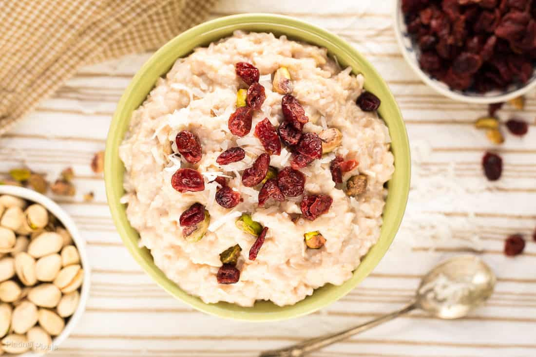 Vegan Coconut Rice Pudding with Cranberries and Pistachios ...